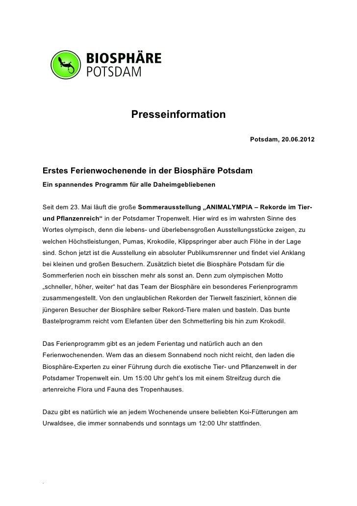 Presseinformation                                                                       Potsdam, 20.06.2012Erstes Ferienwo...