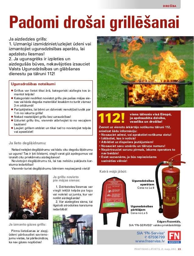 Praktiskais Latvietis, 21. maijs, 2012. 23 DROŠĪBA Padomi drošai grillēšanai Ja aizdedzies grills: 1. Uzmanīgi izsmidzinie...