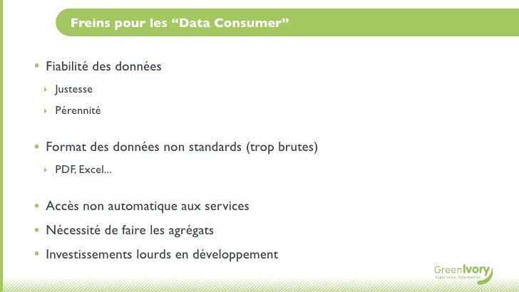 """Freins pour les """"Data Consumer""""•   Fiabilité des données    ‣ Justesse    ‣ Pérennité•   Format des données non standards ..."""