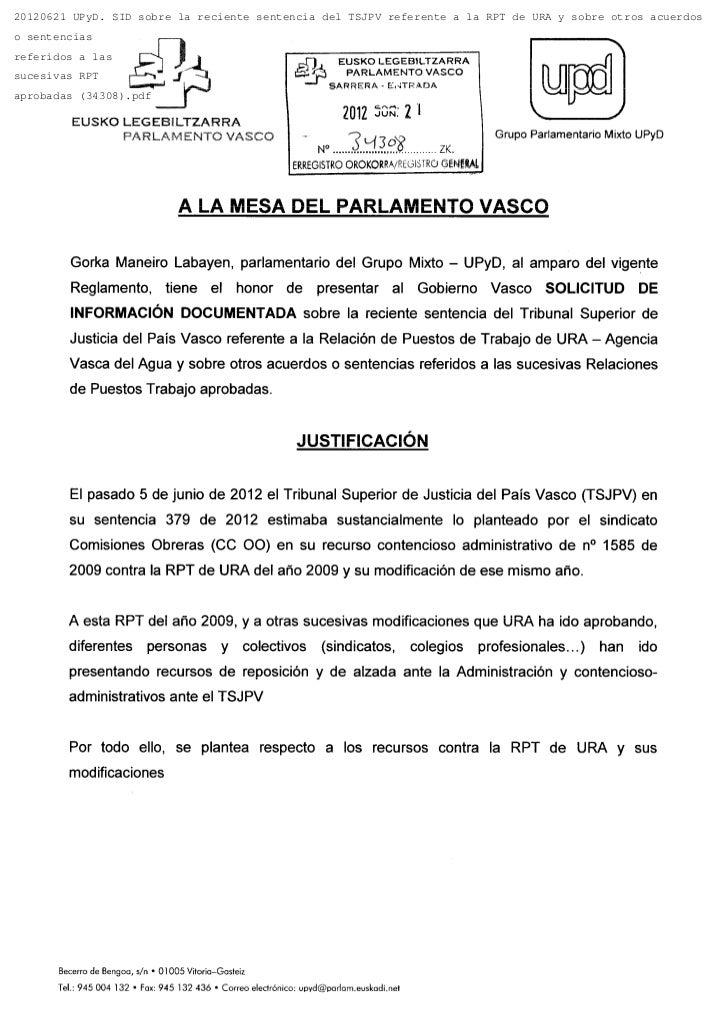 20120621 UPyD. SID sobre la reciente sentencia del TSJPV referente a la RPT de URA y sobre otros acuerdoso sentenciasrefer...