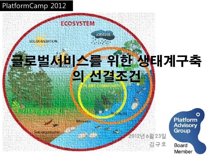 PlatformCamp 2012  글로벌서비스를 위한 생태계구축       의 선결조건                    2012년6월23일                          김규호