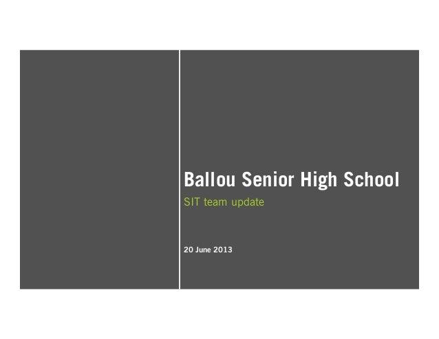 Ballou Senior High School SIT team update 20 June 2013