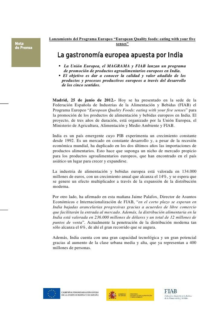 """Lanzamiento del Programa Europeo """"European Quality foods: eating with your five                                  senses""""  ..."""