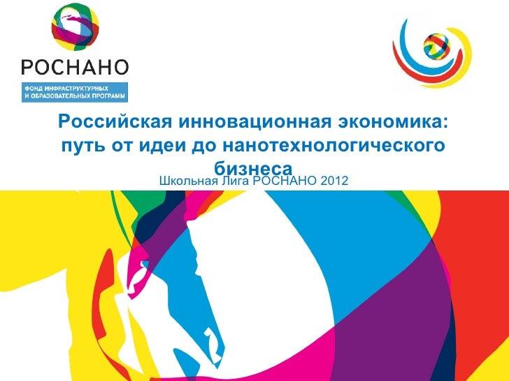 Российская инновационная экономика:путь от идеи до нанотехнологического               бизнеса         Школьная Лига РОСНАН...