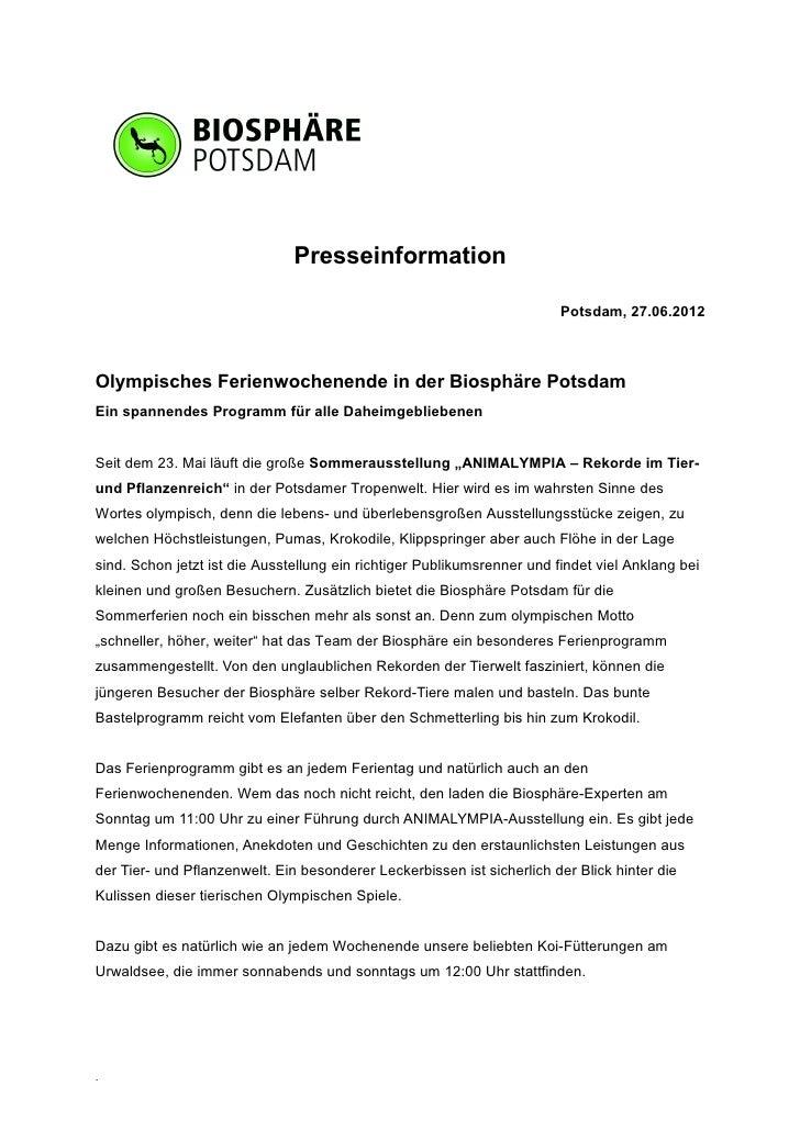 Presseinformation                                                                         Potsdam, 27.06.2012Olympisches F...