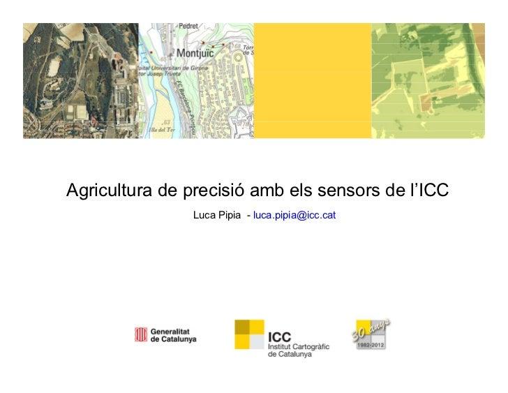 Agricultura de precisió amb els sensors de l'ICC               Luca Pipia - luca.pipia@icc.cat