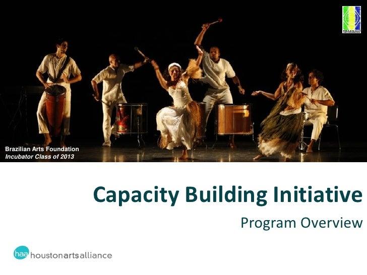 Brazilian Arts FoundationIncubator Class of 2013                            Capacity Building Initiative                  ...