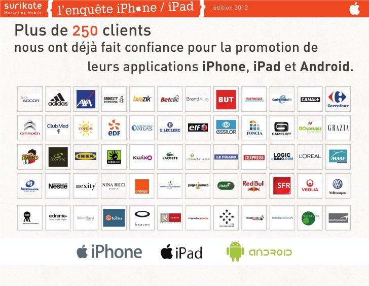 édition 2012Plus de 250 clientsnous ont déjà fait confiance pour la promotion de           leurs applications iPhone, iPad ...