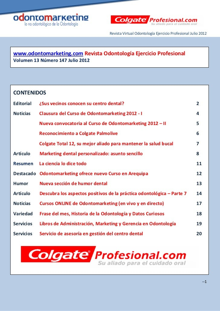 Revista Virtual Odontología Ejercicio Profesional Julio 2012www.odontomarketing.com Revista Odontología Ejercicio Profesio...