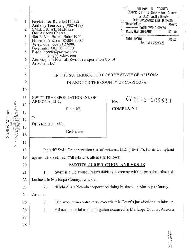 Swift v dHybrid Complaint (2012)