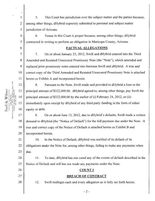 Swift v dHybrid Complaint (2012) Slide 2