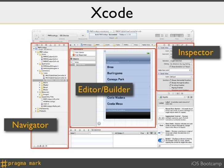 Xcode                             Inspector            Editor/BuilderNavigator                                iOS Bootcamp