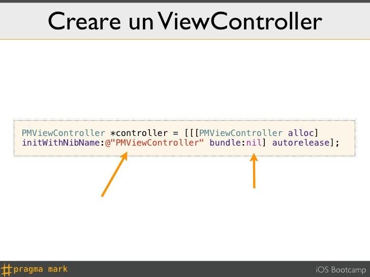 "Creare un ViewControllerPMViewController *controller = [[[PMViewController alloc]initWithNibName:@""PMViewController"" bundl..."