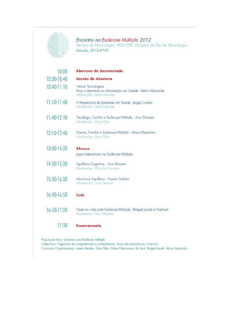 HGO: Encontro na Esclerose Multipla -7 Julho 2012 (programa)