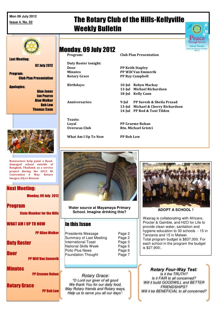 The Rotary Club of the Hills-Kellyville Mon 09 July 2012 Issue 4. No. 02                                             Weekl...