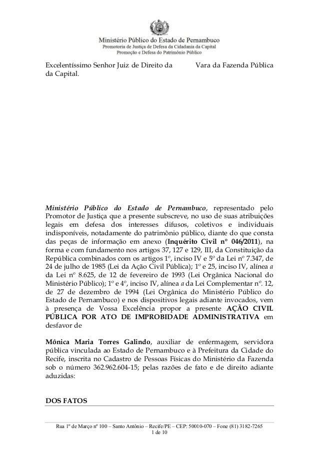 Rua 1º de Março nº 100 – Santo Antônio – Recife/PE – CEP: 50010-070 – Fone (81) 3182-7265 1 de 10 Excelentíssimo Senhor Ju...
