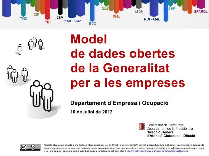 Model                         de dades obertes                         de la Generalitat                         per a les...