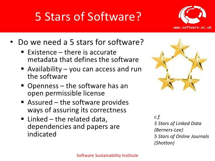 5 Stars of Software?                                                                 www.software.ac.uk• Do we need a 5 st...