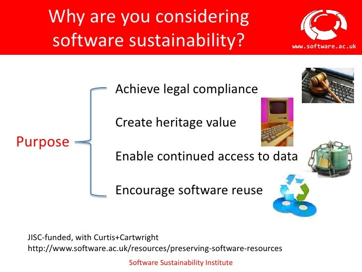 Why are you considering      software sustainability?                                       www.software.ac.uk            ...
