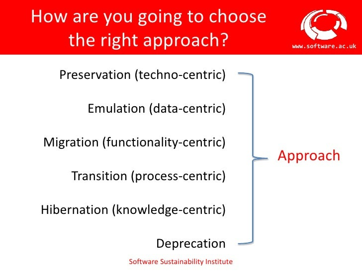 How are you going to choose   the right approach?                               www.software.ac.uk    Preservation (techno...