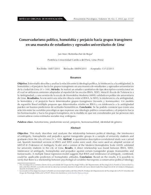 ARTÍCULO ORIGINAL DE INVESTIGACIÓN Pensamiento Psicológico, Volumen 10, No. 1, 2012, pp. 23-37Conservadurismo político, ho...