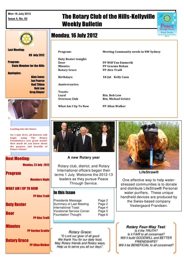 The Rotary Club of the Hills-Kellyville Mon 16 July 2012 Issue 4. No. 03                                               Wee...