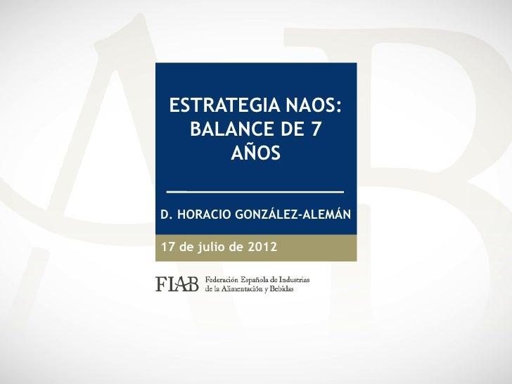 ESTRATEGIA NAOS:   BALANCE DE 7      AÑOSD. HORACIO GONZÁLEZ-ALEMÁN17 de julio de 2012