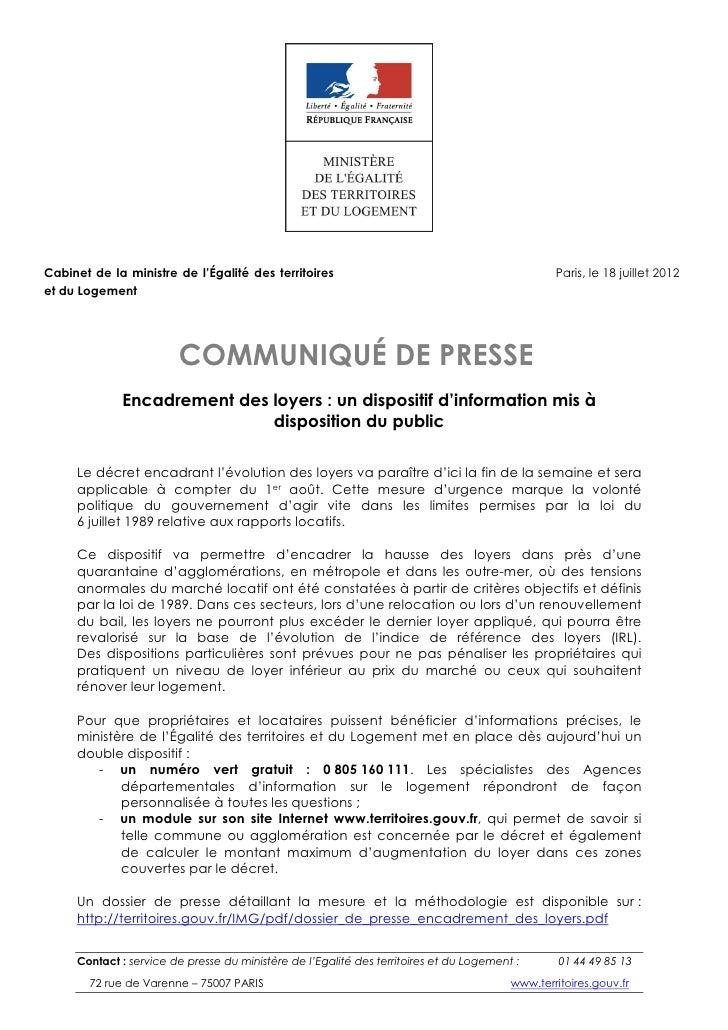 Cabinet de la ministre de l'Égalité des territoires                                              Paris, le 18 juillet 2012...