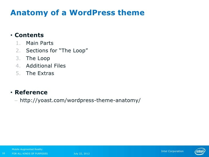 """Anatomy of a WordPress theme     • Contents       1.       Main Parts       2.       Sections for """"The Loop""""       3.     ..."""