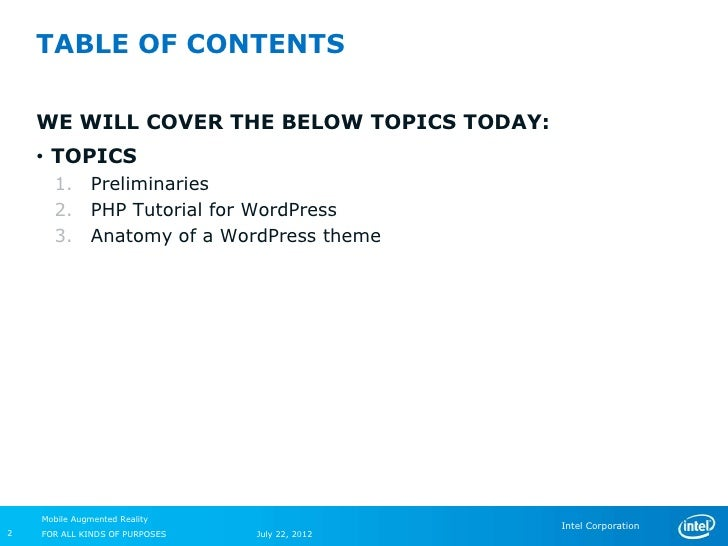 TABLE OF CONTENTS    WE WILL COVER THE BELOW TOPICS TODAY:    • TOPICS      1.       Preliminaries      2.       PHP Tutor...