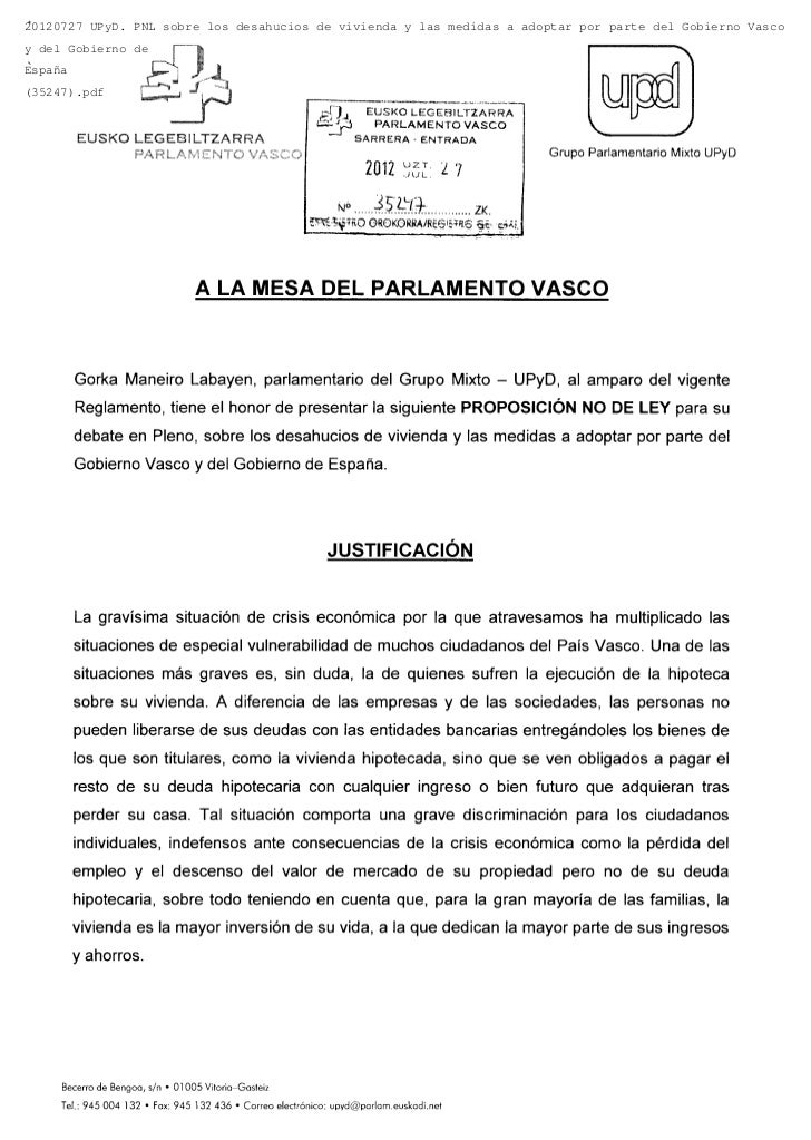 20120727 UPyD. PNL sobre los desahucios de vivienda y las medidas a adoptar por parte del Gobierno Vascoy del Gobierno deE...