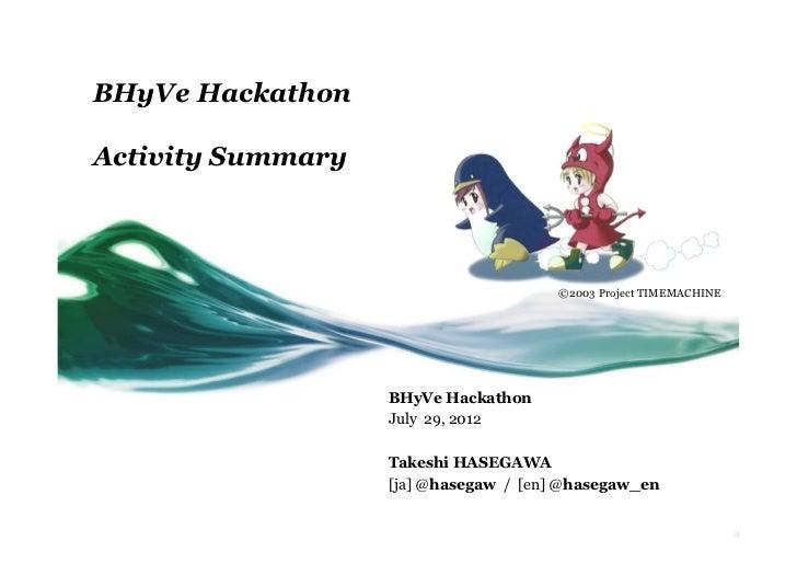 BHyVe HackathonActivity Summary                                       ©2003 Project TIMEMACHINE                   BHyVe H...