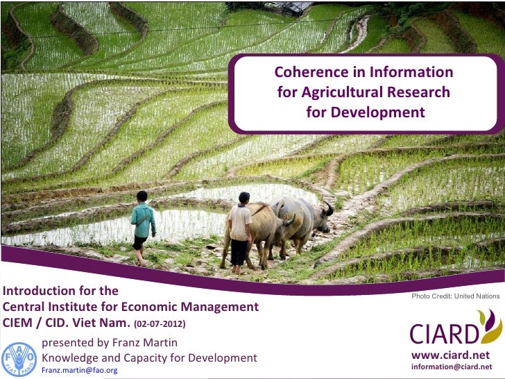 Coherence in Information                                               for Agricultural Research                          ...