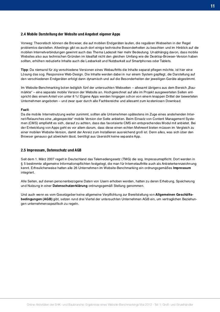 Ergebnisband Website Benchmarking Shk Und Baubranche Mai 2012