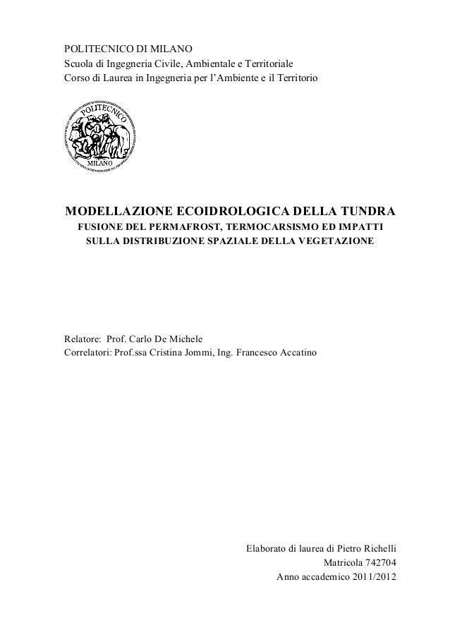 POLITECNICO DI MILANO Scuola di Ingegneria Civile, Ambientale e Territoriale Corso di Laurea in Ingegneria per l'Ambiente ...