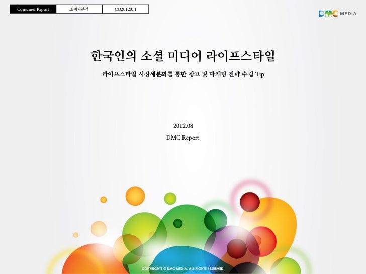 Consumer Report   소비자분석      CO2012011                          한국인의 소셜 미디어 라이프스타일                           라이프스타일 시장세분화를...