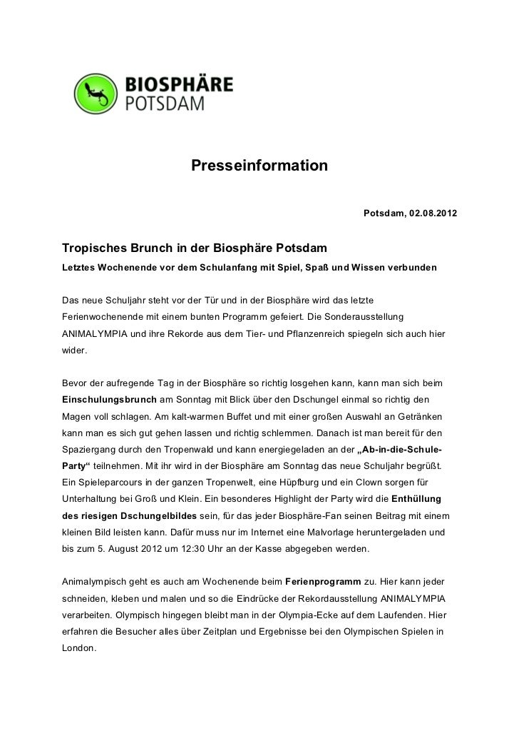 Presseinformation                                                                      Potsdam, 02.08.2012Tropisches Brunc...
