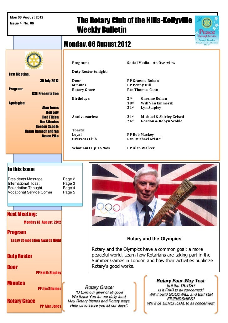 The Rotary Club of the Hills-Kellyville Mon 06 August 2012 Issue 4. No. 06                                               W...
