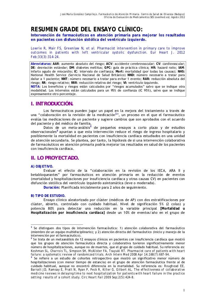José María González Campillejo. Farmacéutico de Atención Primaria. Centro de Salud de Olivenza (Badajoz)                  ...