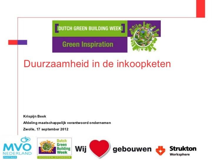 Dutch Green Building Week Duurzaamheid in de (inkoop)keten Slide 2