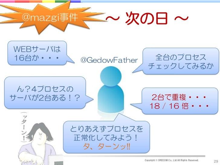 @mazgi事件        ~ 次の日 ~WEBサーバは16台か・・・     @GedowFather      全台のプロセス                             チェックしてみるか ん?4プロセスのサーバが2台ある...