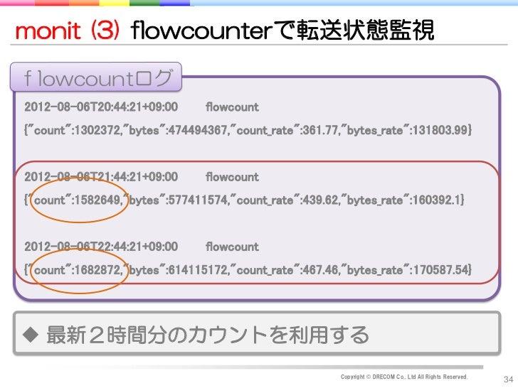 "monit (3) flowcounterで転送状態監視flowcountログ2012-08-06T20:44:21+09:00      flowcount{""count"":1302372,""bytes"":474494367,""count_r..."