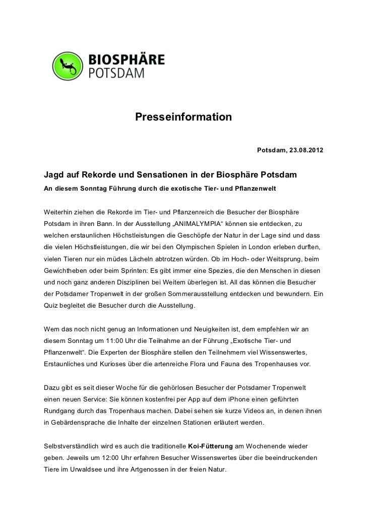 Presseinformation                                                                      Potsdam, 23.08.2012Jagd auf Rekorde...