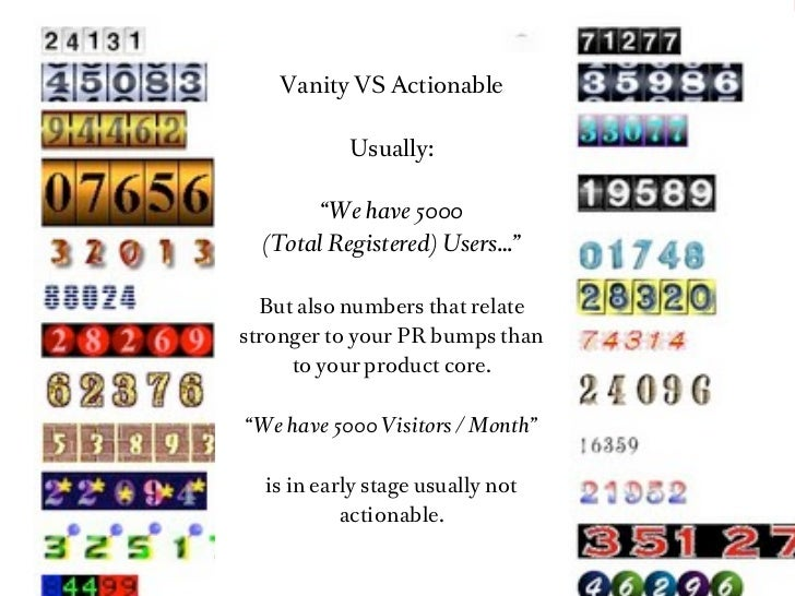 """Vanity VS Actionable           Usually:        """"We have 5000  (Total Registered) Users…""""  But also numbers that relatestro..."""