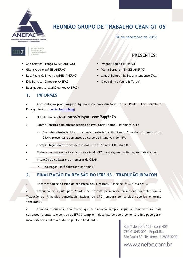 REUNIÃO GRUPO DE TRABALHO CBAN GT 05                                                                      04 de setembro d...