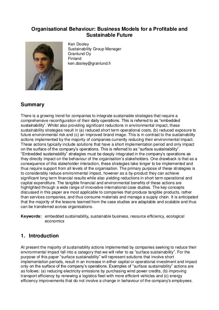 Organisational Behaviour: Business Models for a Profitable and                          Sustainable Future                ...