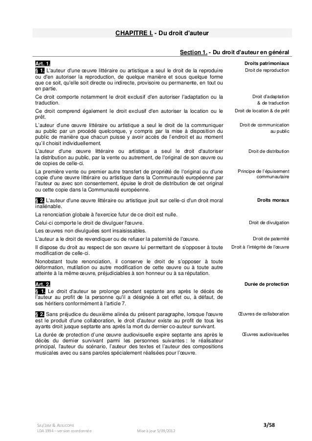 Droit d'auteur en Belgique   Loi du 30 juin 1994   version coorodnnée…