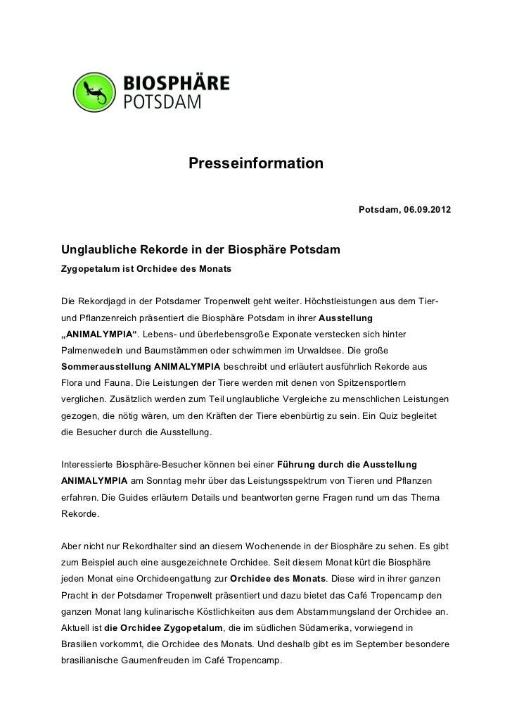 Presseinformation                                                                      Potsdam, 06.09.2012Unglaubliche Rek...