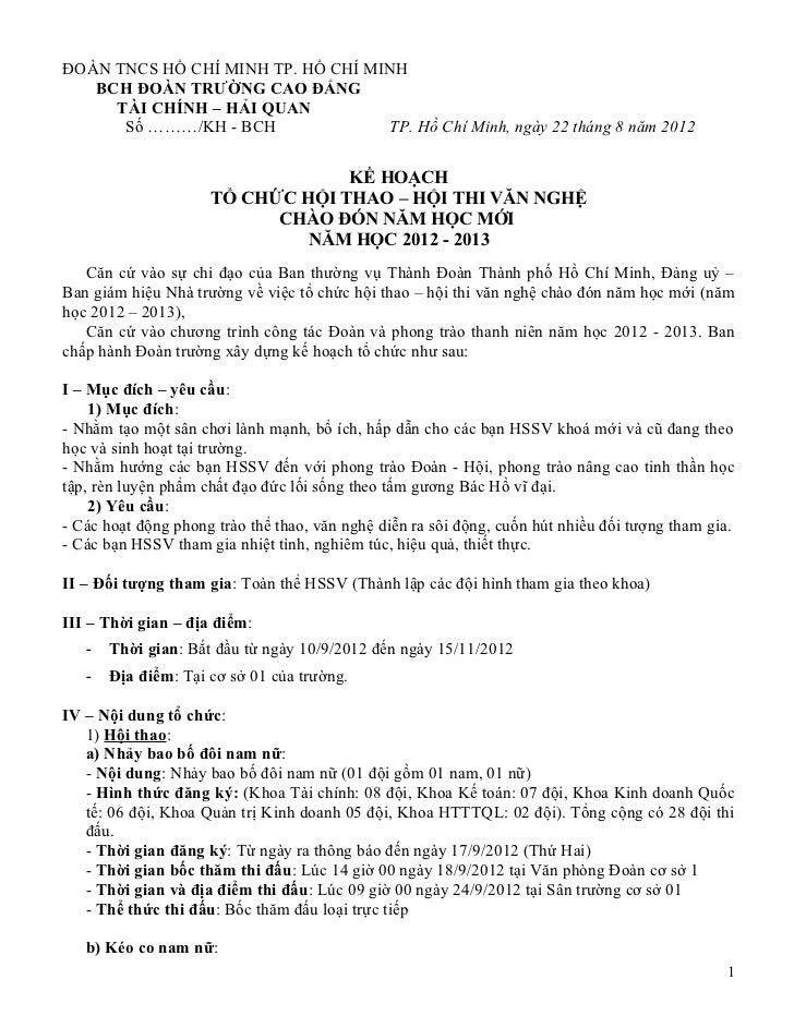 ĐOÀN TNCS HỒ CHÍ MINH TP. HỒ CHÍ MINH   BCH ĐOÀN TRƯỜNG CAO ĐẲNG     TÀI CHÍNH – HẢI QUAN      Số ………/KH - BCH            ...