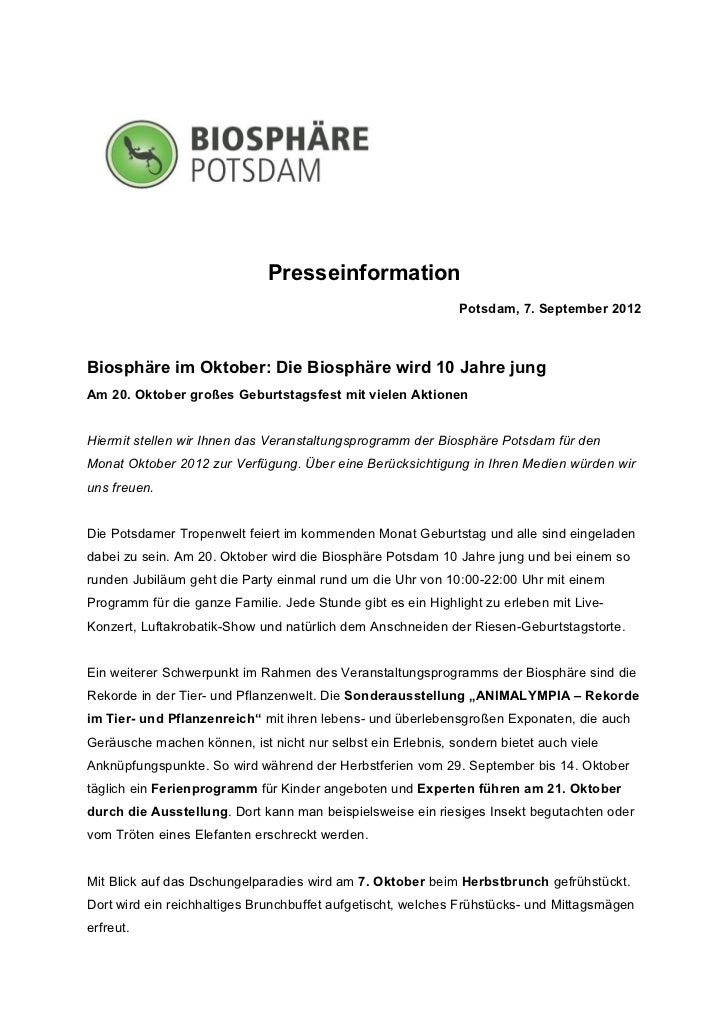 Presseinformation                                                             Potsdam, 7. September 2012Biosphäre im Oktob...